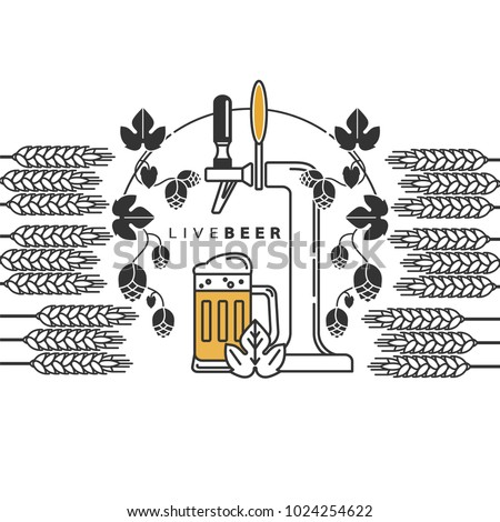Beer tap, hops, wheat, beer mug. Vector sign in a line style for the menu, restaurant, brewery. Set of isolated elements.