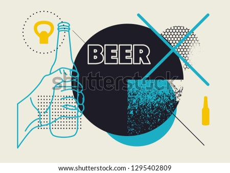 Beer typographic abstract geometric grunge poster. Retro vector illustration.