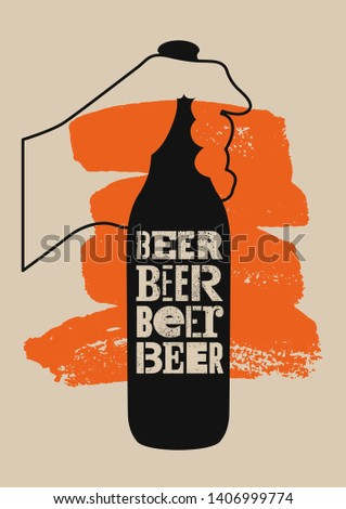 Beer typographic vintage grunge style poster. Retro vector illustration.
