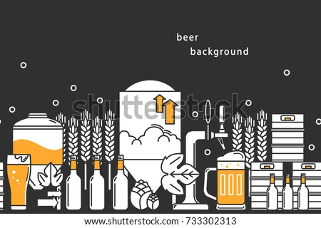 Beer. Vector background. Bottles, keg, glass, mug, equipment for brewery, hops, wheat. Line icons on a dark background.