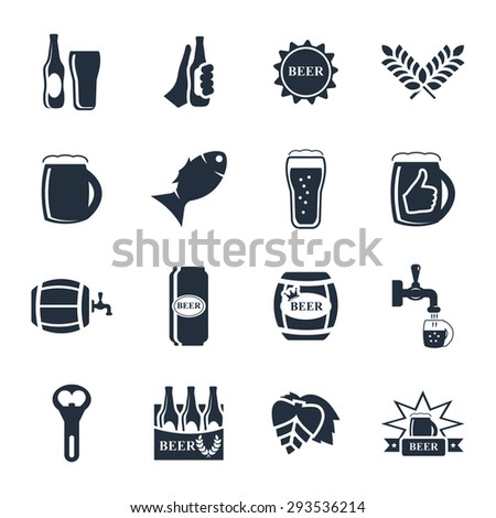 Beer vector icon set - bottle, glass, pint