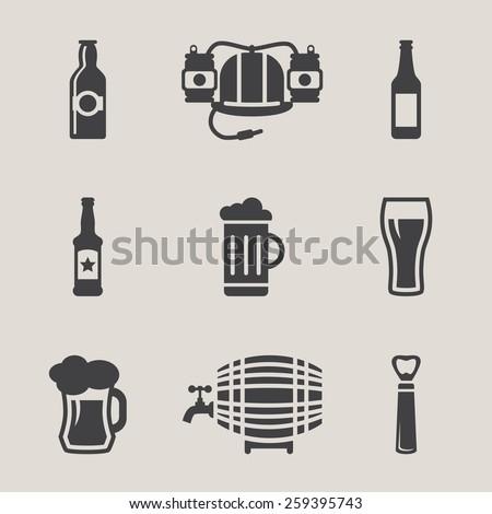 beer vector icons set  bottle