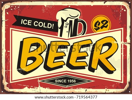 Beer vintage tin sign for cafe bar or pub decoration. Comic style retro poster design with ice cold beer mug on red background.