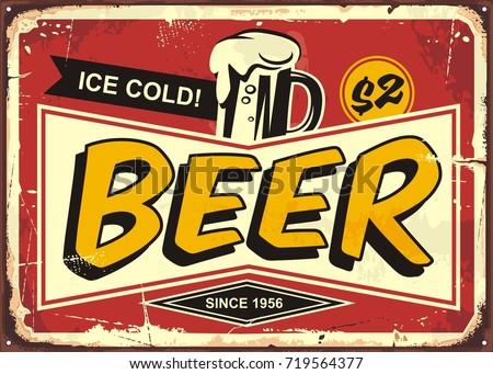 beer vintage tin sign for cafe