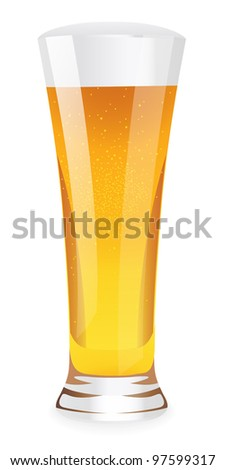 Beer with foam in tall glass. Isolated vector illustration on white background