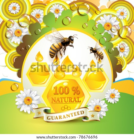 Bees and honeycombs over floral background with drops