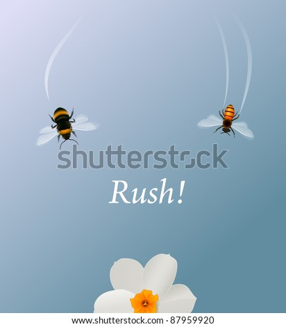 Bees rushing to land on the flower. Illustration for competition and speed concepts - stock vector