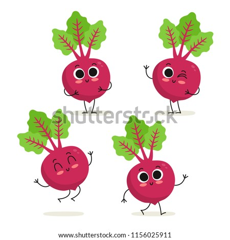Beet. Cute cartoon vegetable vector character set isolated on white