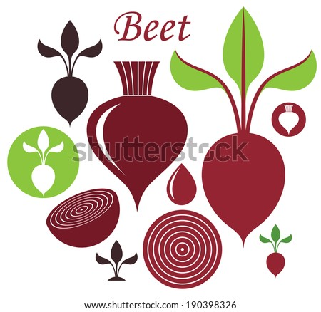 Beet. Icon set. Vector illustration