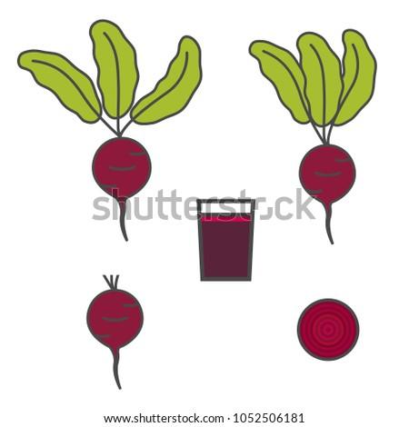 Beet icon. Slice of beet. Beet juice. Vector Illustration.
