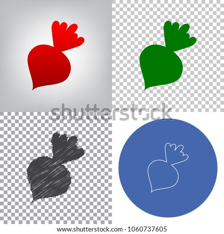 Beet simple sign. Vector. 4 styles. Red gradient in radial lighted background, green flat and gray scribble icons on transparent and linear one in blue circle.