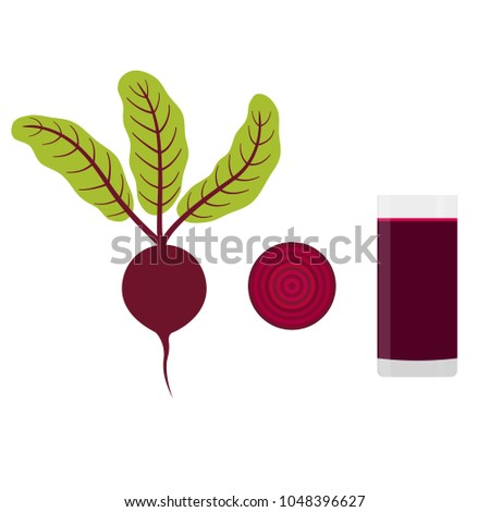 Beet. Slice of beet. Beet juice. Vector Illustration.