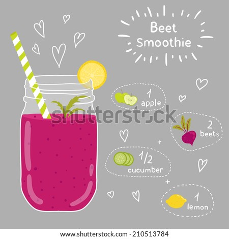 Beet smoothie recipe. With illustration of ingredients. Doodle style