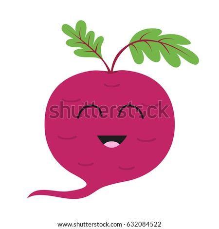 Beet with leaves icon. Red beetroot. Vegetable collection. Fresh farm healthy food. Smiling face. Cute cartoon character. Education card for kids. Flat design. White background. Isolated. Vector