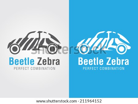 beetle car with a zebra texture
