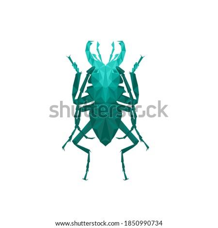 beetle Geometric Triangle Logo Icon Design, stag beetle Triangle