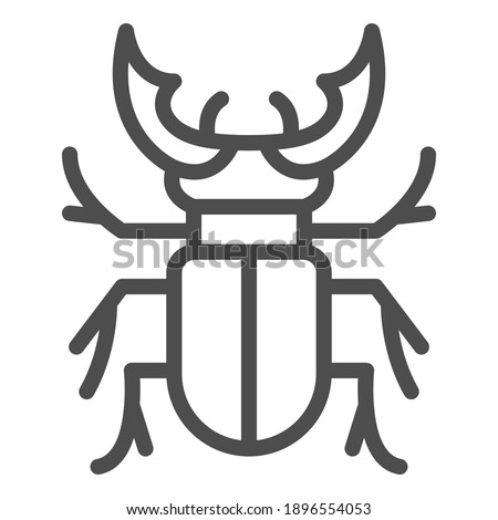 beetle stag line icon  bugs