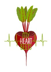 Beetroot Heart Shape Motivational Vegetable Dieting Concept. Healthy eating inspirational concept. Layered vector EPS8