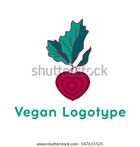 Beetroot heart vegetable logo icon template design. Purple beet icon logo. Fresh vegetarian concept. Health vegetarian logo isolated on pattern background. Cool simple flat design beetroot symbol.