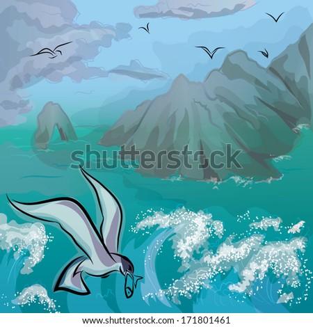 before a gale seascape gulls