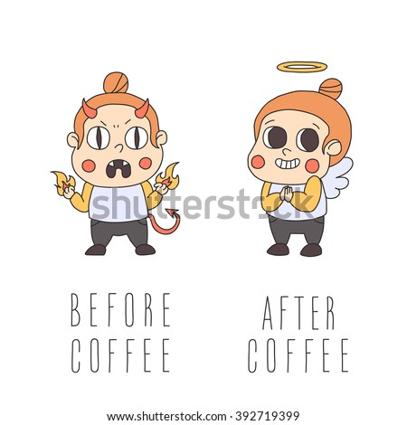 before and after coffee girl
