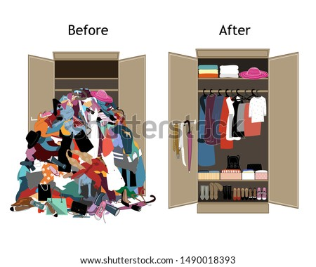 Before untidy and after tidy wardrobe. A lot of cheap, unfashionable, old messy clothes thrown out of closet and nicely arranged clothes in piles and boxes after the revision and organization.