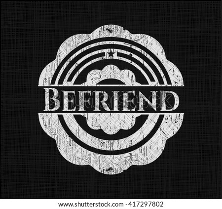 Befriend chalkboard emblem on black board