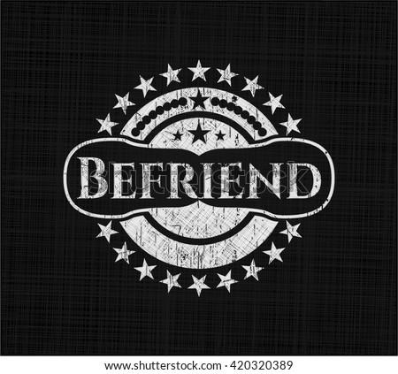 Befriend chalkboard emblem written on a blackboard
