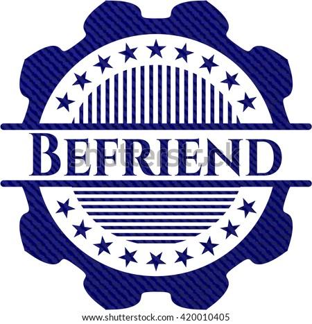 Befriend emblem with denim texture