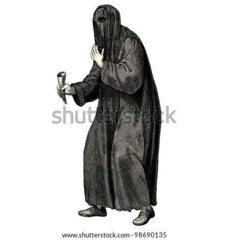 "Beggar from medieval times - vintage engraved illustration - ""Costumes anciens et modernes "" by Cesare Veccello ed.Firmin-Didot  in 1859 - Paris"