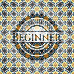 Beginner arabic style badge. Arabesque decoration.