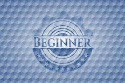 Beginner blue badge with geometric pattern. Vector Illustration. Detailed.