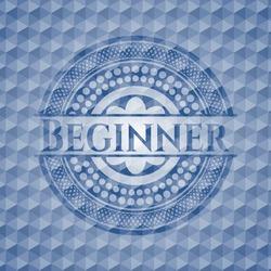 Beginner blue hexagon badge. Vector Illustration. Detailed.