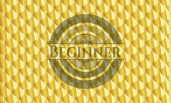 Beginner gold badge or emblem. Scales pattern. Vector Illustration. Detailed.