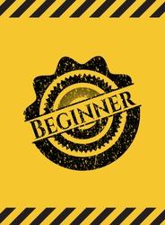 Beginner inside warning sign, black grunge emblem. Vector Illustration. Detailed.