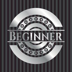 Beginner silver badge. Vector Illustration. Mosaic.