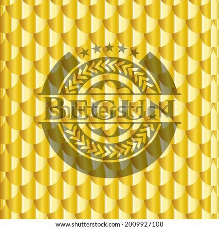 Begun shiny golden badge. Scales pattern. Vector Illustration. Detailed.  Zdjęcia stock ©