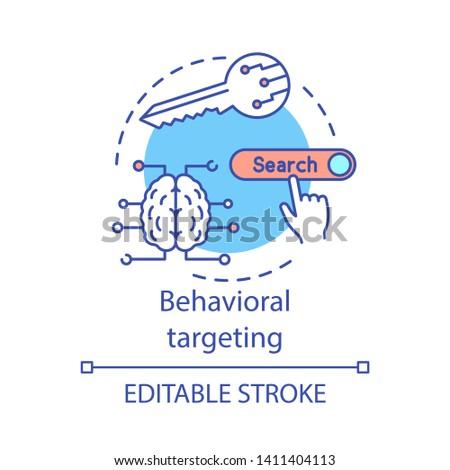 Behavioral targeting concept icon. User behavior idea thin line illustration. Behavioral analytics for marketing vector isolated outline drawing. Customer prediction. Editable stroke