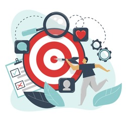 Behavioral targeting concept. Man hit target dart. Audience on customer behavior: likes, comments, reposts, subscription. Marketing segmentation, customers care, customer relationship management, CRM