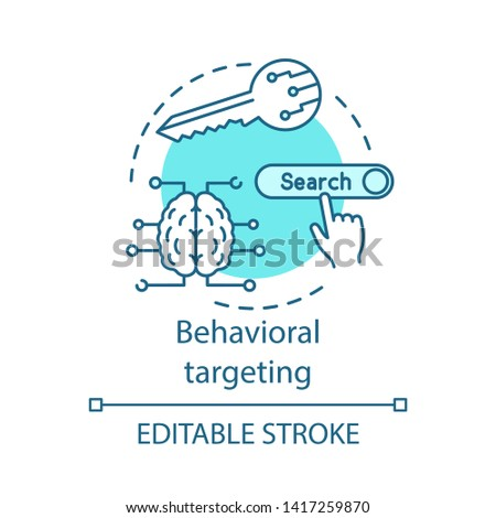 Behavioral targeting turquoise concept icon. User behavior idea thin line illustration. Behavioral analytics for marketing vector isolated outline drawing. Customer prediction. Editable stroke