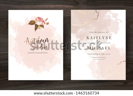 Beige and rose gold watercolor style vector design cards. Taupe, creamy, sepia color frames with brush art. Elegant wedding invitation.Splash texture.Boho style.Trendy collection.Isolated and editable