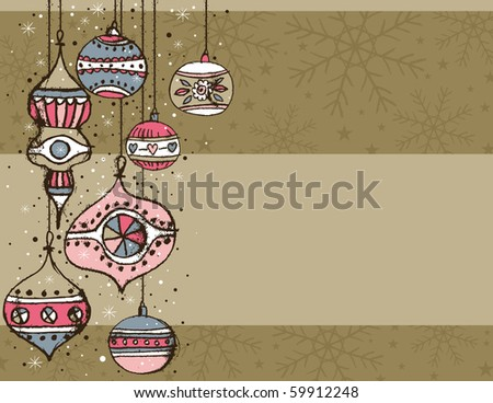 beige background with christmas balls,  vector illustration