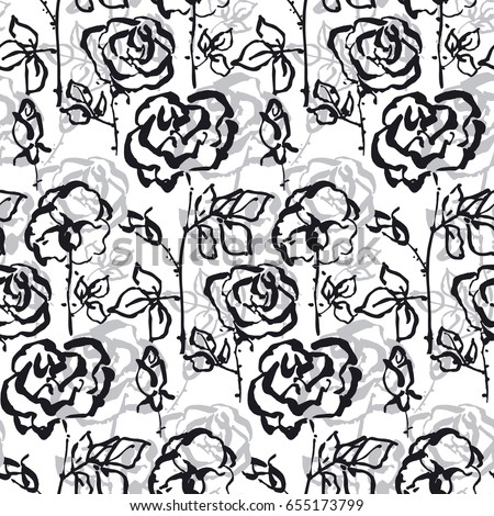 beige gray and yellow floral background. Black and white concept rose flower seamless pattern for surface design, wrapping paper, background, fabric. Hand drawn floral sketch in modern shabby style.