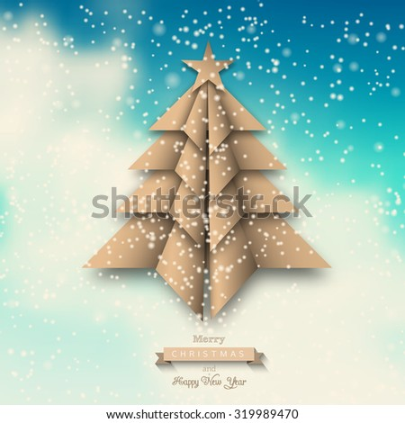 beige paper origami christmas