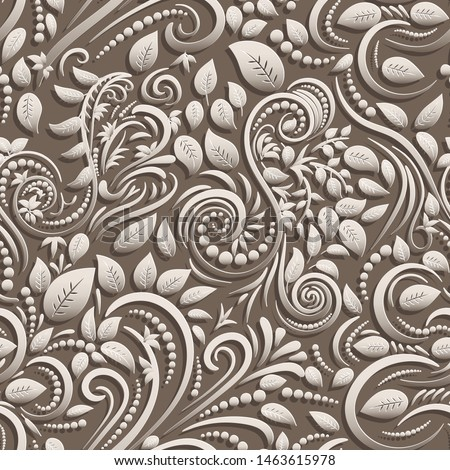 Beige seamless background of paper twisted leaves and spirals in papercut style