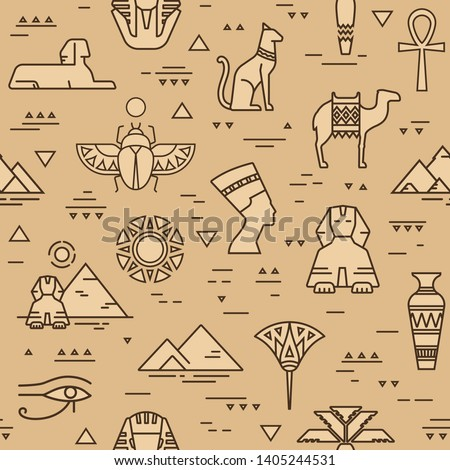 Beige seamless pattern of symbols, landmarks, and signs of Egypt from icons in a linear style.