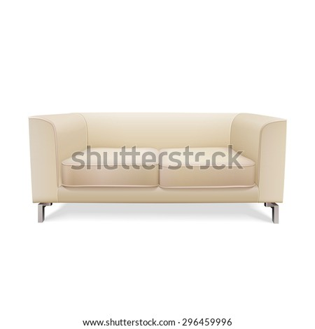 beige sofa front view vector