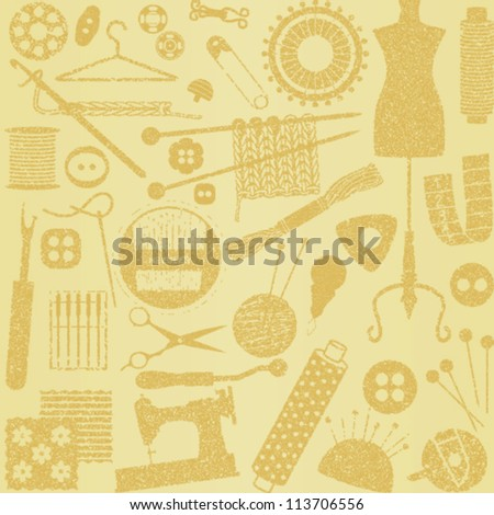 Beige vintage sewing and needlework related seamless pattern background - stock vector