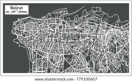 Beirut Lebanon City Map in Retro Style. Vector Illustration. Outline Map.