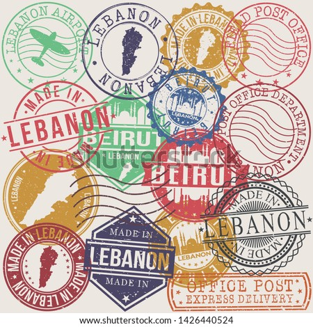 Beirut Lebanon Set of Stamps. Travel Stamp. Made In Product. Design Seals Old Style Insignia.